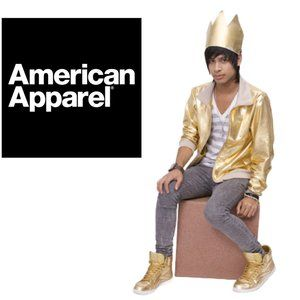 American Apparel Gold Lamé Bomber Unisex - Small